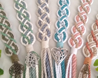 Custom bespoke Celtic handfasting cord ~ choose colours, add pendants ~ recycled cotton ~ ethical eco friendly elven style wedding ribbon