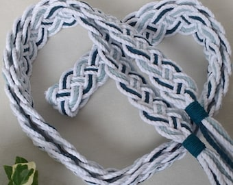 Peacock blue and white Celtic braid wedding ribbon ~ vintage style handfasting cord ~ Oeko-Tex recycled cotton ~ ethical and eco friendly