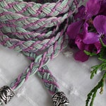 Hemp handfasting cord: Heather ~ an eco friendly, Celtic style wedding ribbon of 100% natural materials in pinks and greens