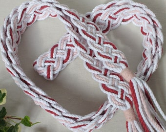 Crimson cotton Celtic braid handfasting cord ~ crimson, white, pink Oeko-Tex recycled cotton ~ ethical and eco friendly wedding ribbon