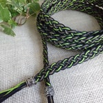 Hemp handfasting, altar or ritual cord in black and green: Samhain eco friendly pagan wedding or spell cord, choice of fastenings