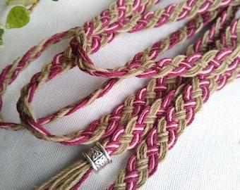 Green sage burgundy palomino Celtic handfasting cord ~ natural eco friendly hemp ~ elegant Celtic braid ~ ethical wedding ceremony