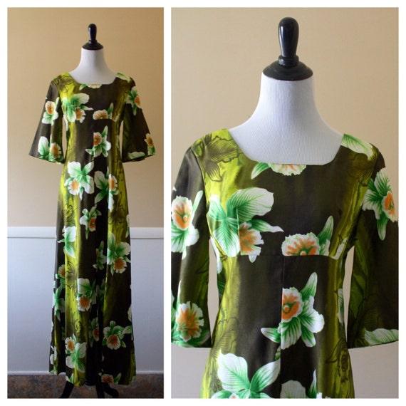 70s tropical print maxi dress, small