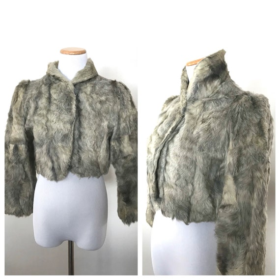 Vintage fur coat, cropped jacket, Small