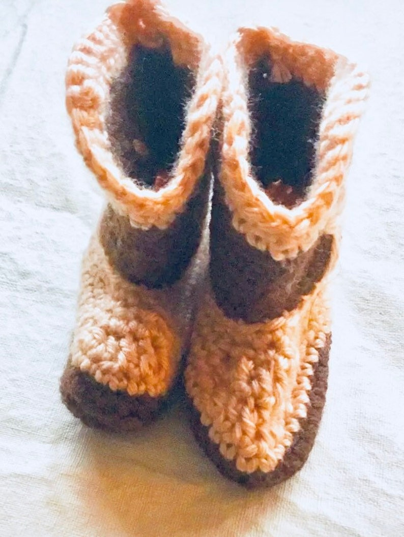 Hand crocheted Baby Boy Cowboy Booties 3-9 mos.