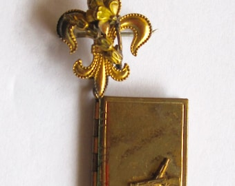 WWII Book Locket with a Fleur de Lis Pin fastening