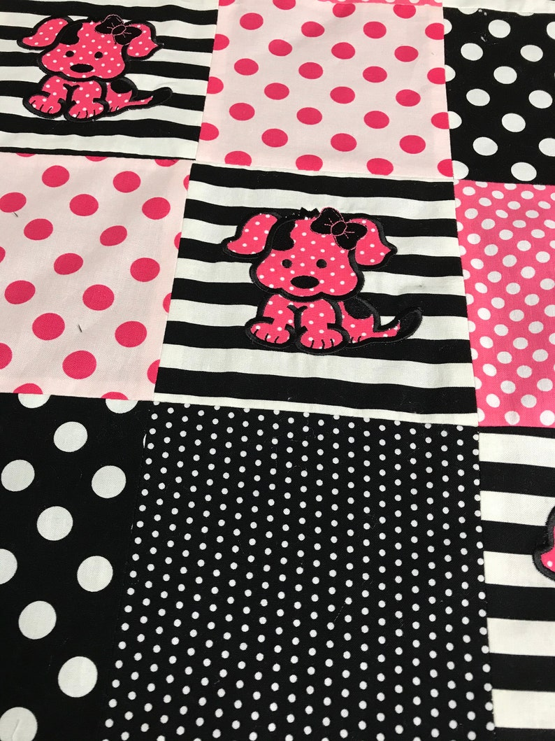 Baby Blanket-Puppy Appliqu\u00e9 Baby Blanket-Handmade Baby Quilt-Pink and Black Baby Blanket