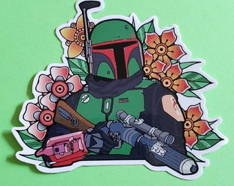 Floral Boba Fett Sticker