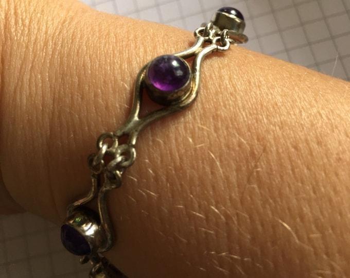 Crystal - Vintage Amethyst Sterling Silver bracelet