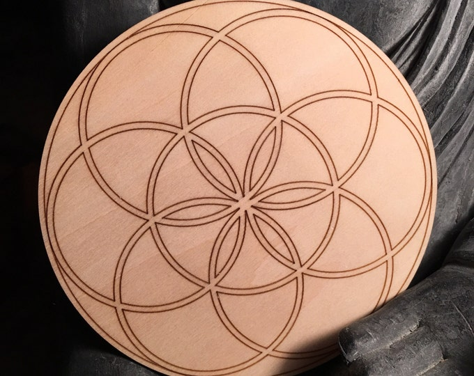 "5"" Wooden Flower of life Crystal Grid"