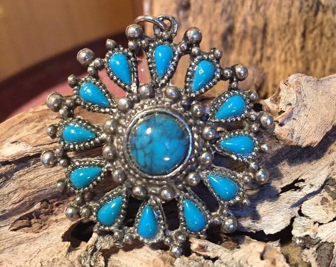 Vintage faux turquoise pendant