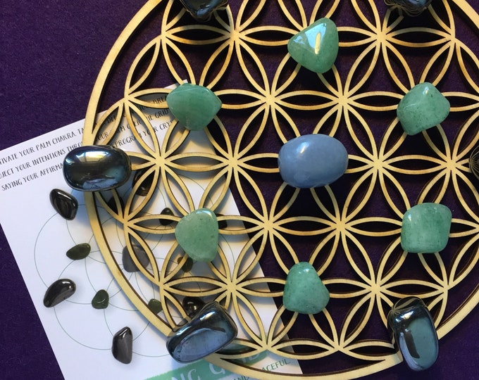 Crystals - Calming Crystal Grid - flower of life