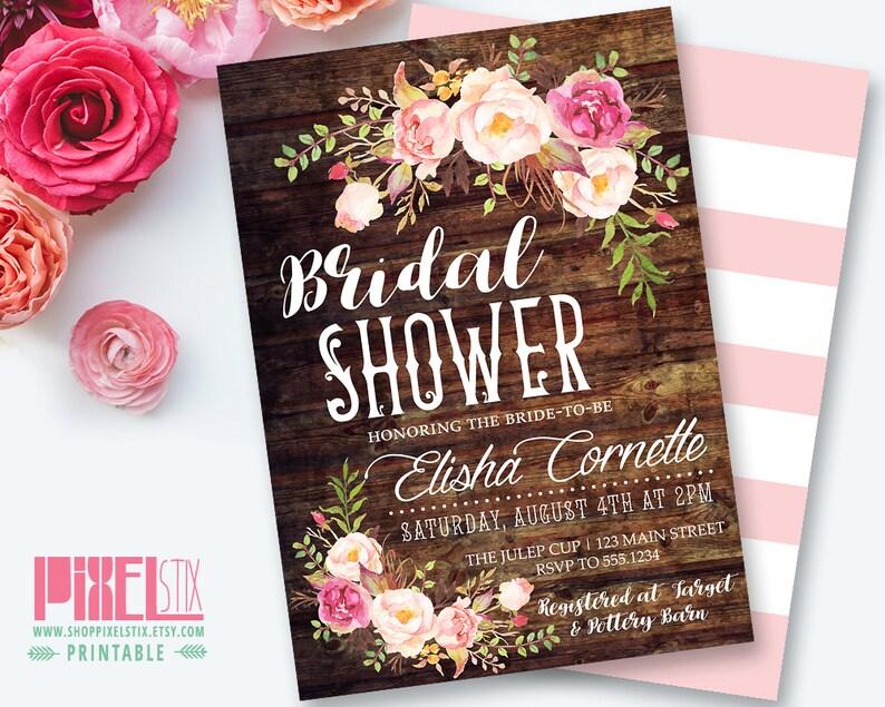 bfdc9dba6eb9 Rustic Floral Bridal Shower Invitation Shabby Chic Invite
