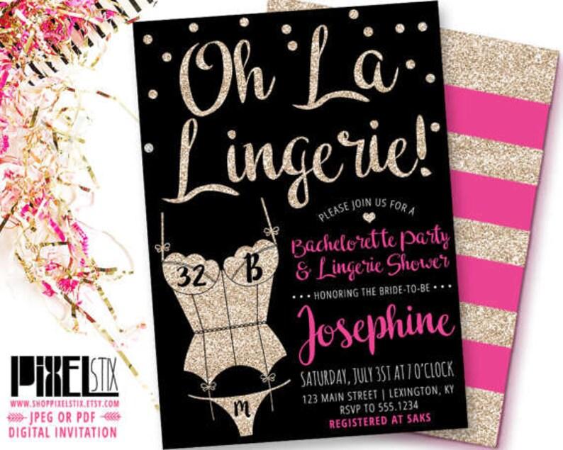 35a507e00dd Gold Glitter Lingerie Shower Invitation Oh La Lingerie