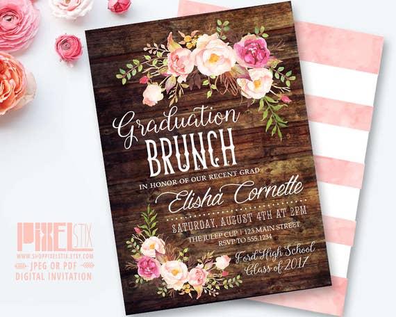 rustic graduation brunch invitation boho floral graduation etsy