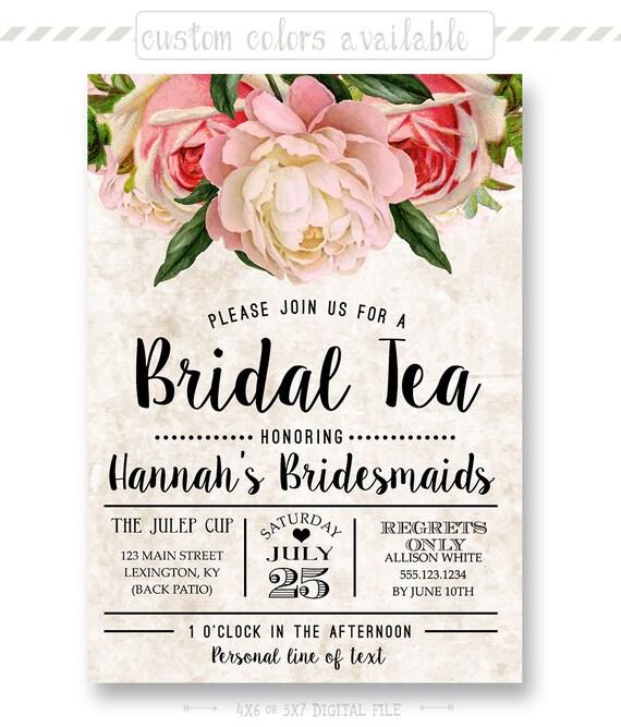 Tea Stained Floral Bridal Tea Invitation Bridesmaid Luncheon Etsy