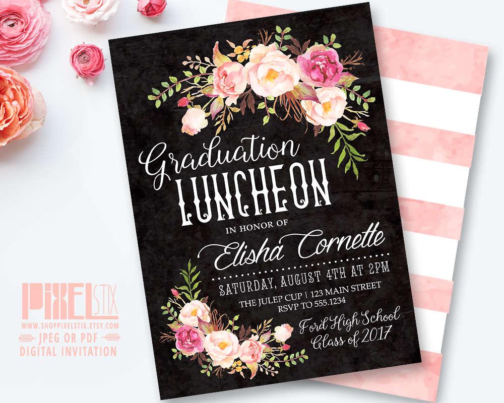 Boho Graduation Luncheon Invitation Floral Chalkboard Etsy