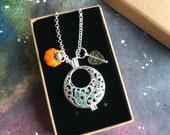 Autumn CreScent - Czech Glass Pumpkin, Silver Plated Filigree Diffuser Locket, Olive Green Leaf Bead, Fall Necklace.