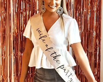 "Wife of the Party 4"" Glitter vinyl Satin Sash. Bride to Be Sash with Glitter. Bridal Shower Sash! Bachelorette Sash! Engagement Party Sash!"