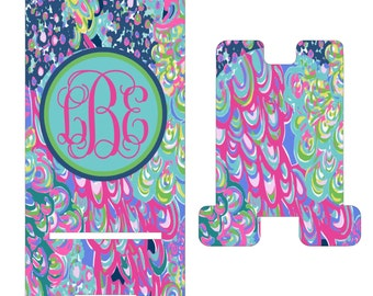 Marbelized Cell Phone Stand. Personalized Cell Phone Stand, I phone dock for Dorm Rooms, Desks, Counters