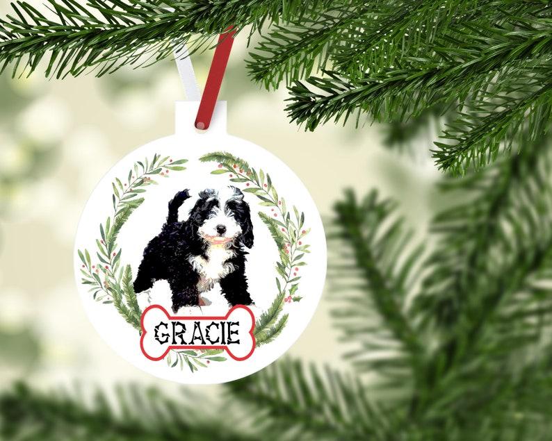 Personalized Bernedoodle Ornament Custom Black and White Bernedoodle Gift Black and White Bernedoodle Mom gift! Bernedoodle Ornaments