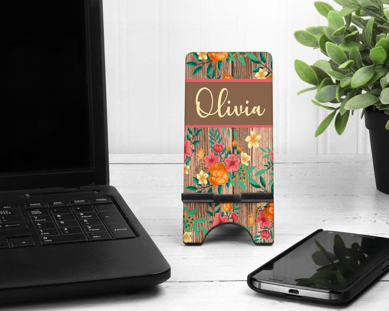 Wood Floral Cell Phone Stand. Custom Phone Stand floral phone image 0