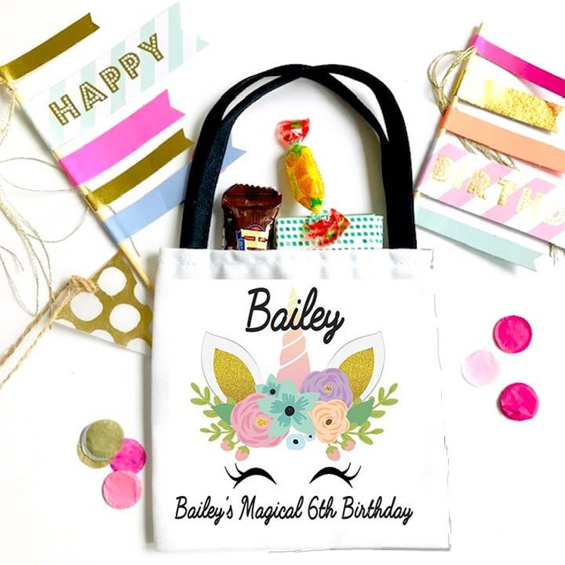 Girl/'s Birthday Party Favor Bag Unicorn Theme Birthday Party favor Bag. Birthday Goodie Bag Unicorn Birthday Party Bag