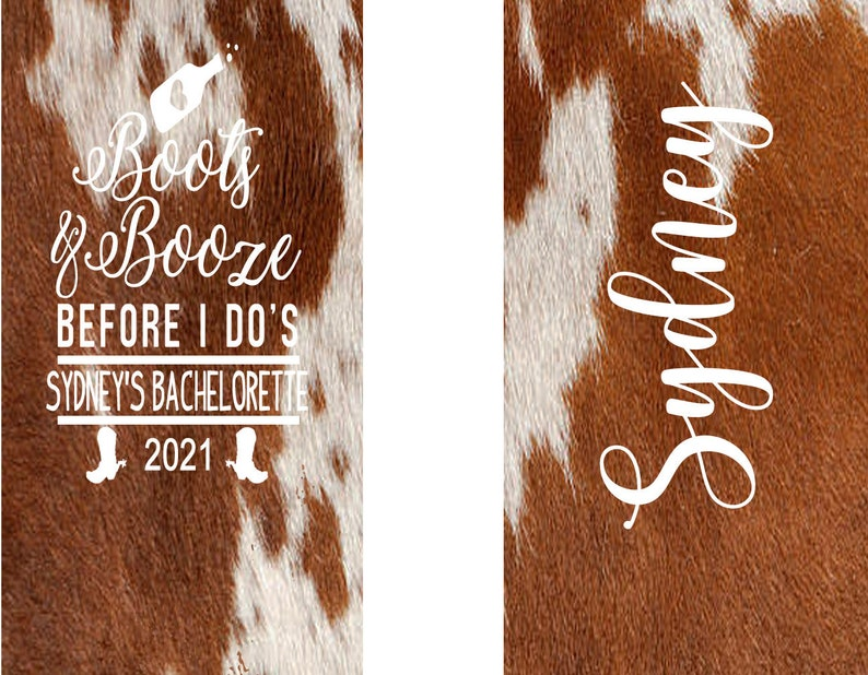 Personalized Austin or Nashville Party Custom Colorado Western Wedding Favors. Western Cowhide Bachelorette or Birthday Nashville party