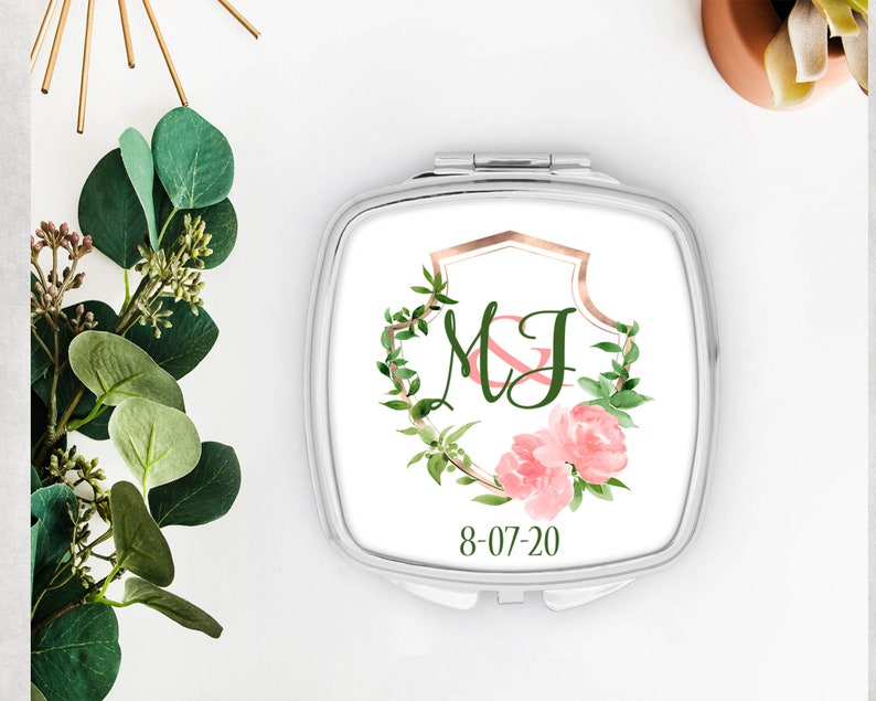 Bachelorette Party Favors Bridal Party Favor Make up Mirror  Shit Kit Bags Personalized floral Wedding Mirror Bridesmaid Gift