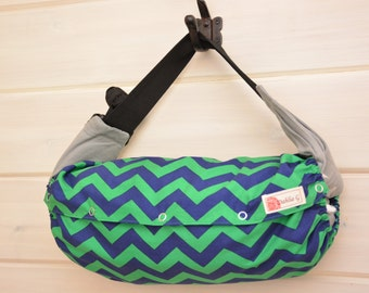 SALE!! 15%off - Baby Carrier Cover (Reversible) Green & Navy Zigzag/Navy with Green Dots (Prepster) Tula/Ergo/Kinderpack/Beco/Boba/Lillebaby