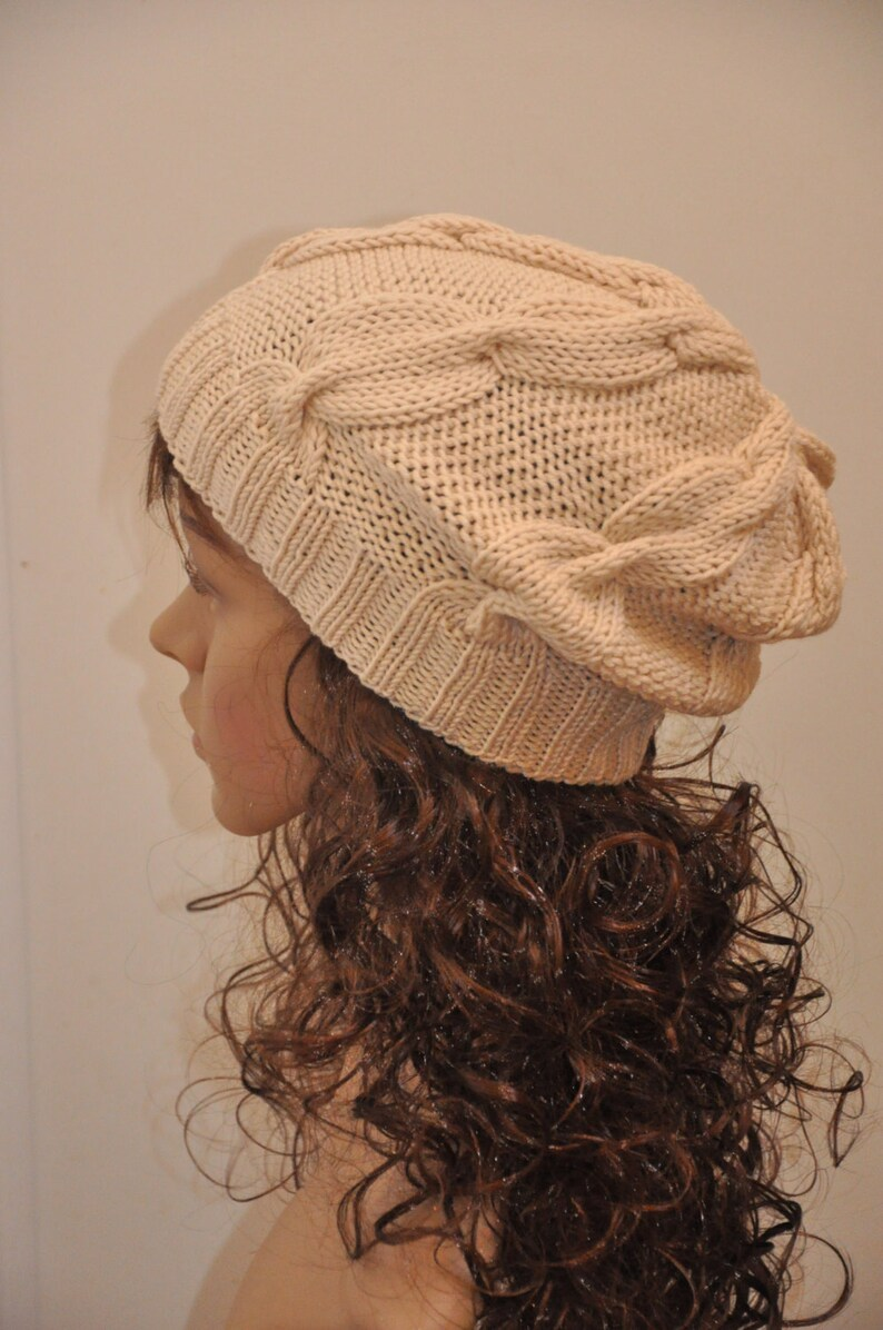 d4e6abf0947 Hand Knit Cabled Slouchy Beanie