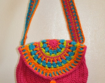 Colorful crochet mandala purse