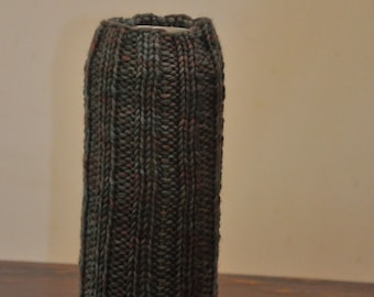 Camouflauge hand knit wool beer bottle or can cozy