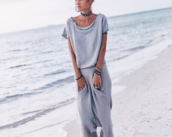 82e28cb621df YUGA Organic cotton jumpsuit robe Overalls women jumpsuit clothing Loose  casual jumpsuit romper Gray harem jumpsuit dress with pockets