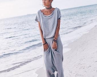 602da2b395e5 YUGA Organic cotton jumpsuit robe Overalls women jumpsuit clothing Loose casual  jumpsuit romper Gray harem jumpsuit dress with pockets