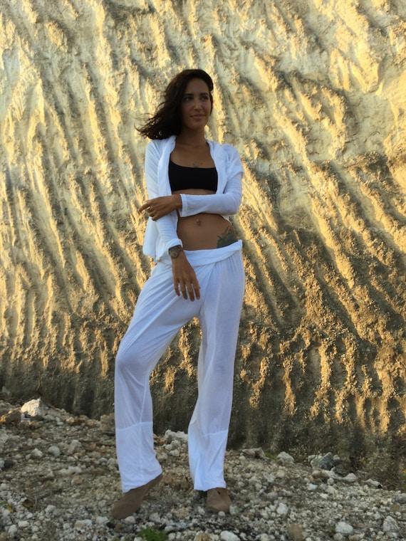 Delicate cotton yoga pants Women yoga wear White yoga comfy pants Yoga tank top DZEN yoga set Yoga gear outfit jumpsuit workout clothes