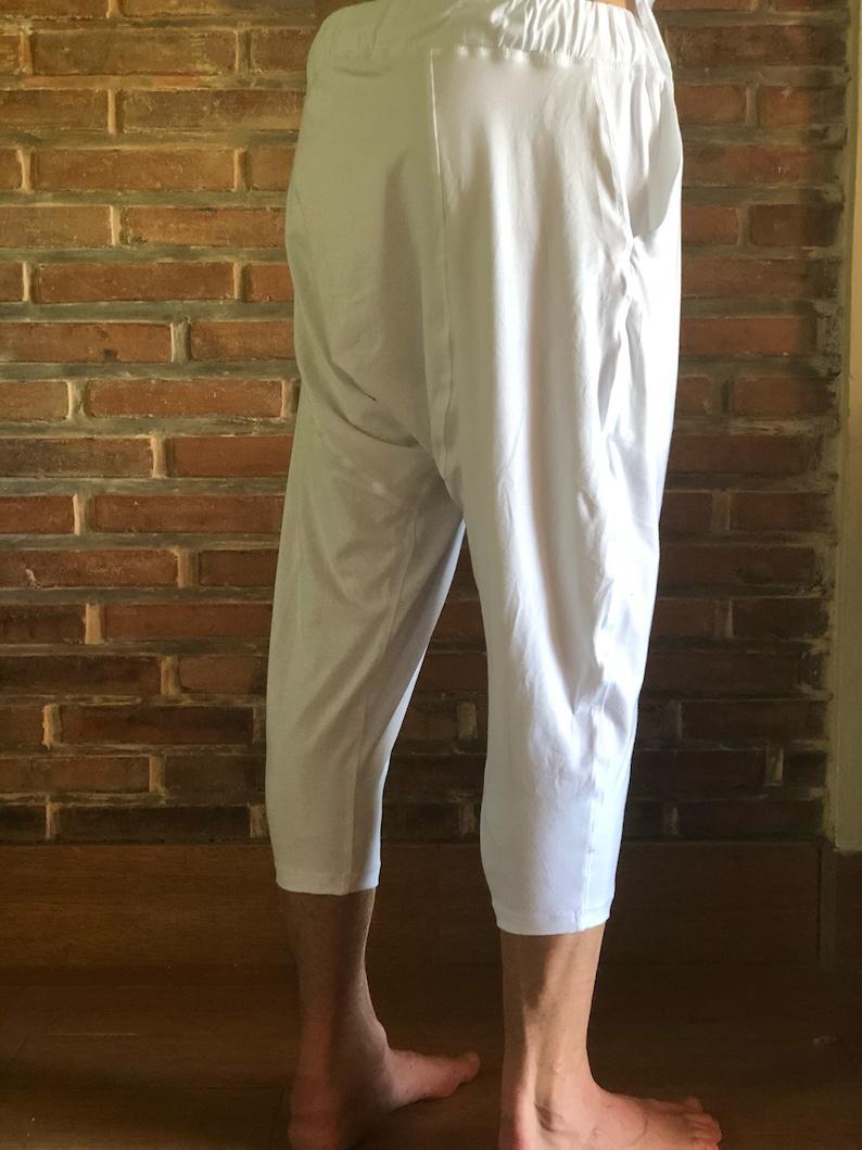 Short pants man Workout comfy pants 34 pants Bamboo pants fo SHIDJO White yoga pants men Short trousers Yoga wear outfit Dance pants
