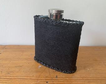 Mini Snake Print Leather metal flask.