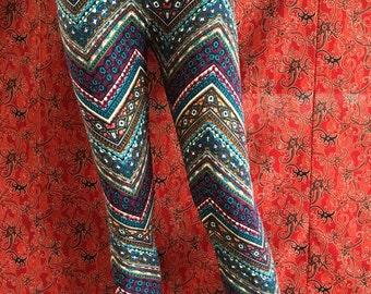 Tricot Leggings - Print - Decorative Beads - Yoga - Festival Wear - 3/4 Length - Size 38