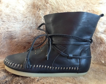 Akha Boots Low Studded - Black - Size - 37 - Walhalla - Tribal - Leather - Boots - Thai