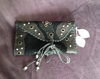 Mixed Leather Tobacco Pouch with decorative Eyelets Beads Studs