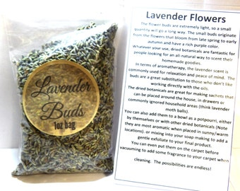 1oz Re-Sealable Bag of Lavender Buds- Perfect for DIY Products, Soap, etc