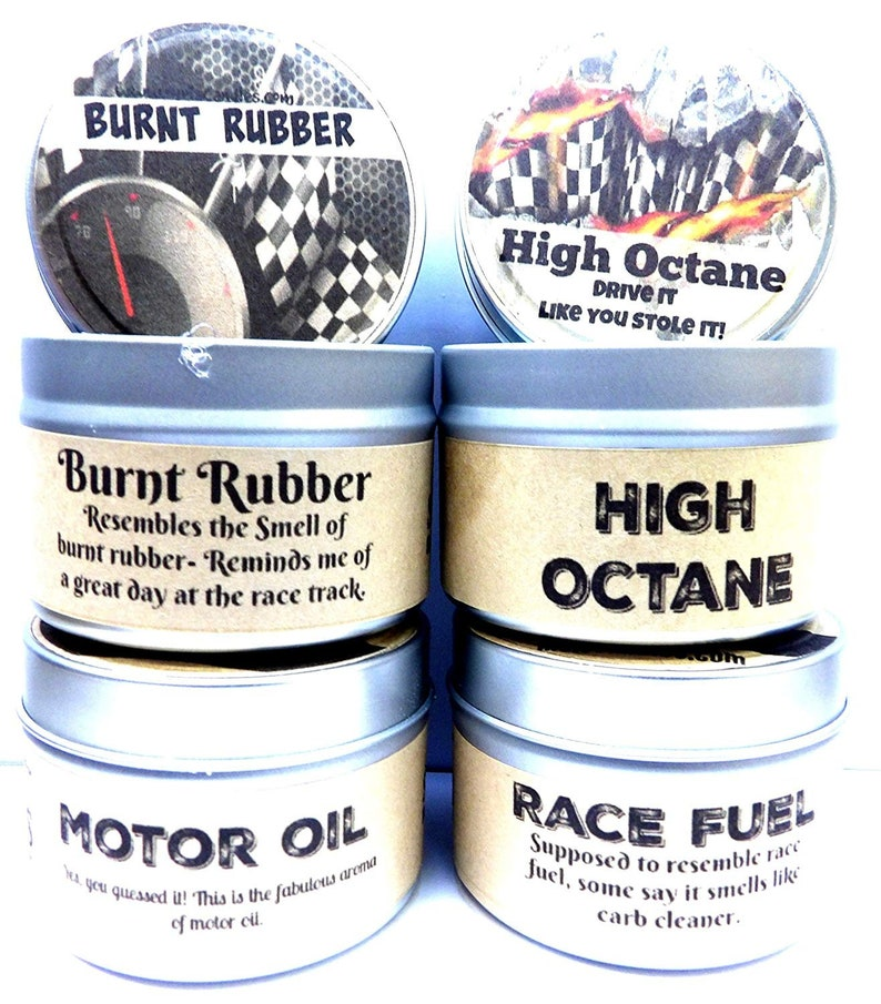 What Octane Is Racing Fuel >> Combo Set Of 4 High Octane Race Fuel Motor Oil And Burnt Rubber 4 Oz All Natural Soy Candle Tins