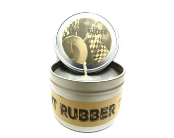 Burnt Rubber (Great for Racers)  8 ounce soy tin candle - take it anywhere!