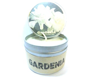 Gardenia 4 ounce soy tin candle - take it anywhere!