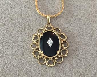 1940s Vintage Art Deco Gold & Black Filigree Necklace