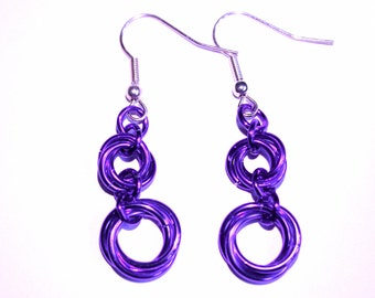 Purple chain maille drop earrings, Mobius chain maille dangle earrings, Flower chain earrings,Chain mail jewellery, UK seller