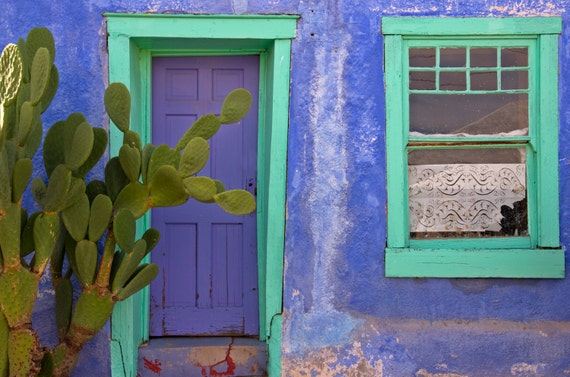 Blue Door And Window Santa Fe Southwestern Adobe House Southwest Architecture Prickly Pear Cactus Charming Adobe Home Photo On Canvas