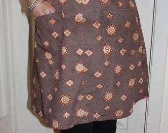 KLV Apron Sale! Classic 1970s Orange and Brown Geometric Floral Apron
