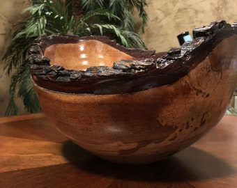 Texas Pecan natural edge bowl with remarkable grain and color.